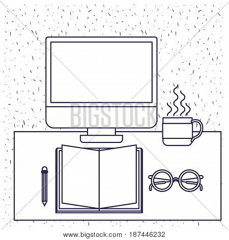 white background with blue silhouette of office desk with computer book and glasses and pencil and coffee cup vector illustration