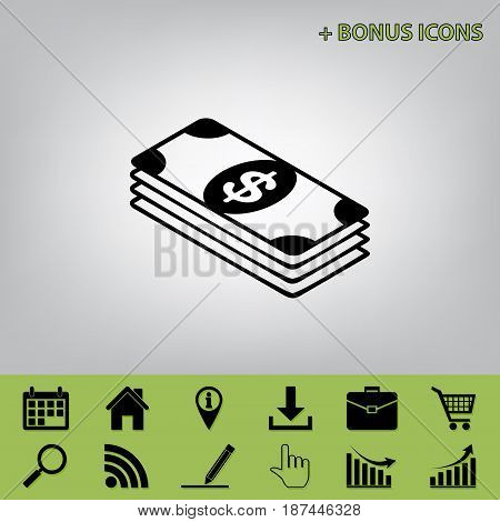 Bank Note dollar sign. Vector. Black icon at gray background with bonus icons at celery ones