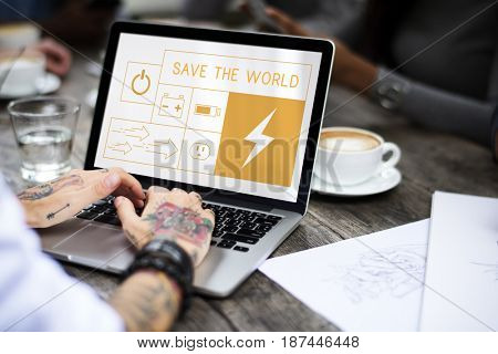 Illustration of energy saving sustainability power generation on laptop