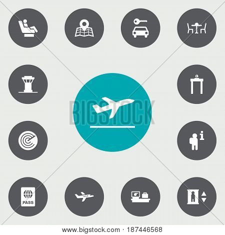 Set Of 13 Airplane Icons Set.Collection Of Location, Metal Detector, Data And Other Elements.