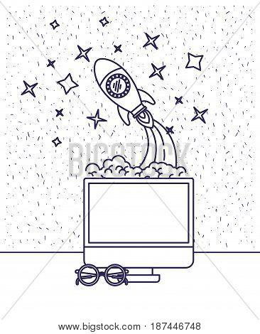 white background with blue silhouette with desktop computer and space rocket and glasses vector illustration
