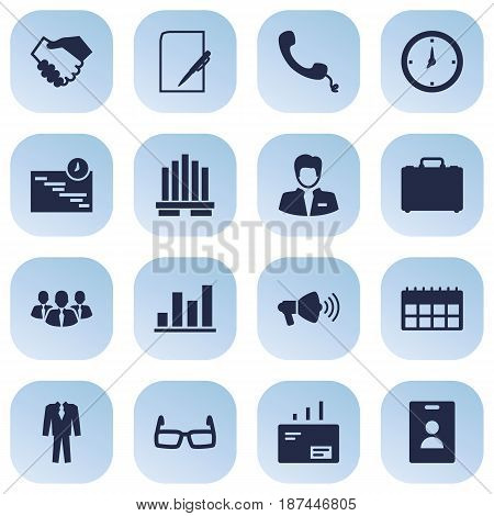 Set Of 16 Business Icons Set.Collection Of Telephone, Message, Spectacles And Other Elements.
