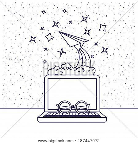 white background with blue silhouette with desktop computer and paper plane and glasses vector illustration