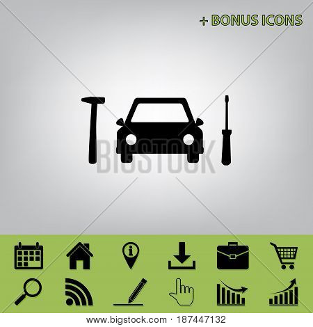 Car tire repair service sign. Vector. Black icon at gray background with bonus icons at celery ones