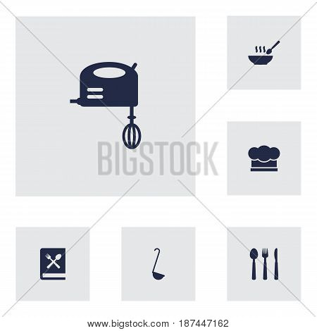 Set Of 6 Kitchen Icons Set.Collection Of Broth, Blender, Scoop And Other Elements.