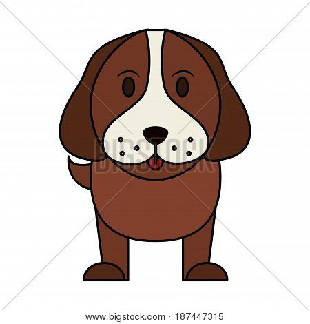 color image cartoon front view dog animal vector illustration