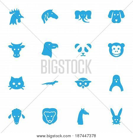Set Of 16 Alive Icons Set.Collection Of Lamb, Camelopard, Hound And Other Elements.