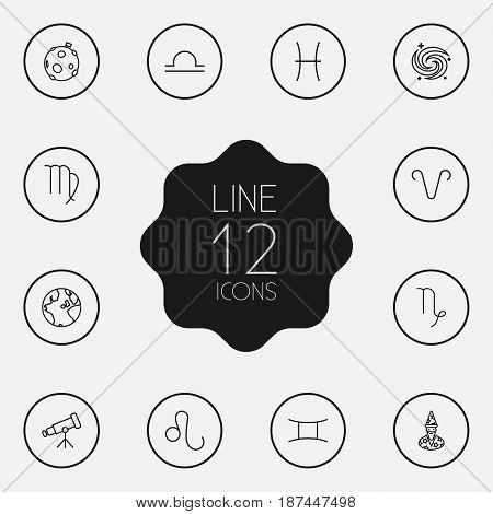 Set Of 12 Astrology Outline Icons Set.Collection Of Leo, Libra, Moon And Other Elements.