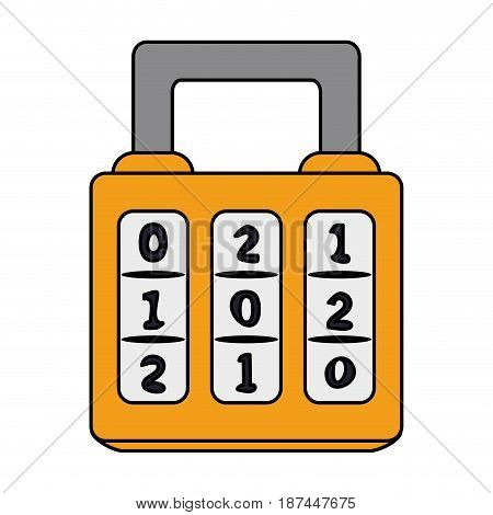 color image cartoon combination padlock with square body vector illustration