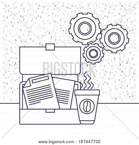 white background with blue silhouette of executive suitcase teamwork vector illustration