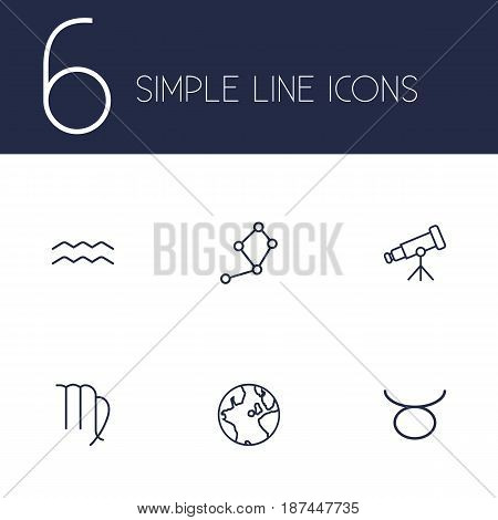 Set Of 6 Astronomy Outline Icons Set.Collection Of Aqurius, Taurus, Telescope And Other Elements.