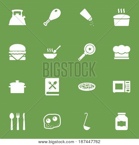Set Of 16 Cooking Icons Set.Collection Of Silverware, Broth, Poultry Foot And Other Elements.