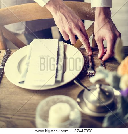 Butler prepare the dish and kitchen utensil
