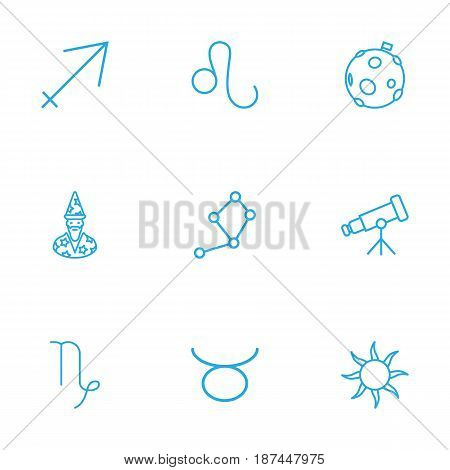 Set Of 9 Astronomy Outline Icons Set.Collection Of Constellation, Telescope, Astrologer And Other Elements.