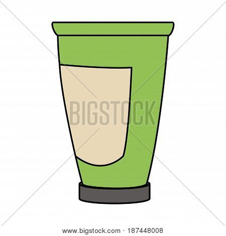 color image cartoon tube cream container with label vector illustration