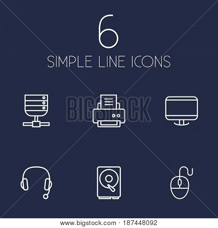 Set Of 6 Computer Outline Icons Set.Collection Of Headphone, Monitor, Hdd And Other Elements.