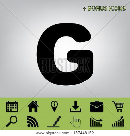 Letter G sign design template element. Vector. Black icon at gray background with bonus icons at celery ones