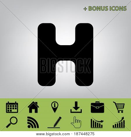 Letter H sign design template element. Vector. Black icon at gray background with bonus icons at celery ones