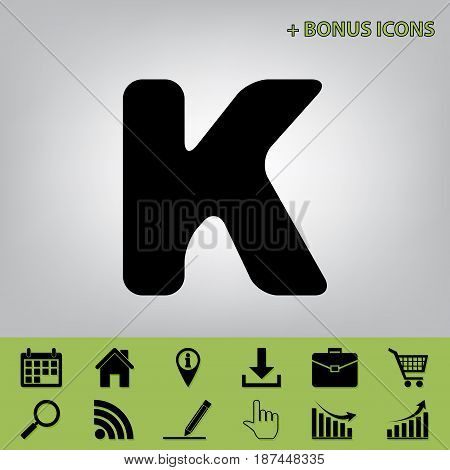 Letter K sign design template element. Vector. Black icon at gray background with bonus icons at celery ones