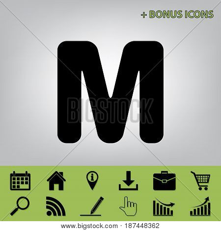 Letter M sign design template element. Vector. Black icon at gray background with bonus icons at celery ones