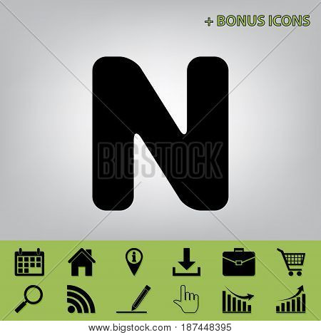 Letter N sign design template element. Vector. Black icon at gray background with bonus icons at celery ones