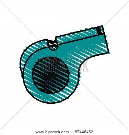 color crayon stripe cartoon sport whistle vector illustration
