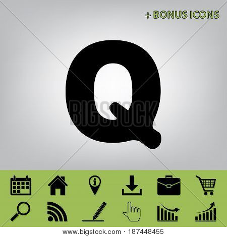 Letter Q sign design template element. Vector. Black icon at gray background with bonus icons at celery ones