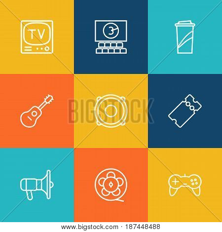 Set Of 9 Pleasure Outline Icons Set.Collection Of Bullhorn, Ticket, Guitar And Other Elements.
