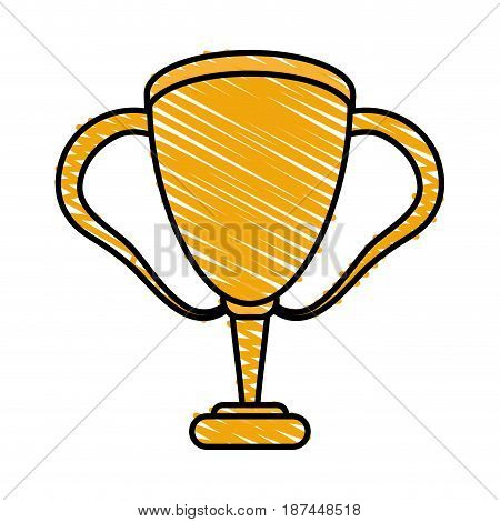 color crayon stripe cartoon golden cup trophy with double handles vector illustration