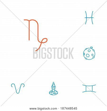 Set Of 6 Galaxy Outline Icons Set.Collection Of Capricorn, Astrologer, Gemini And Other Elements.