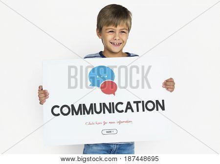 Boy Holding Placard Social Media