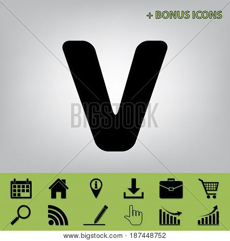 Letter V sign design template element. Vector. Black icon at gray background with bonus icons at celery ones