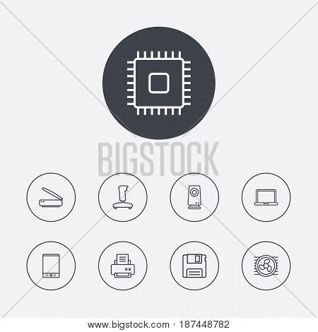 Set Of 9 Notebook Outline Icons Set.Collection Of Tablet, Printer, Notebook And Other Elements.