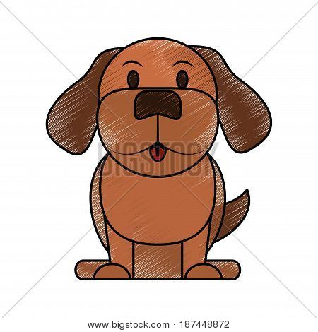 color pencil cartoon front view dog animal sitting vector illustration