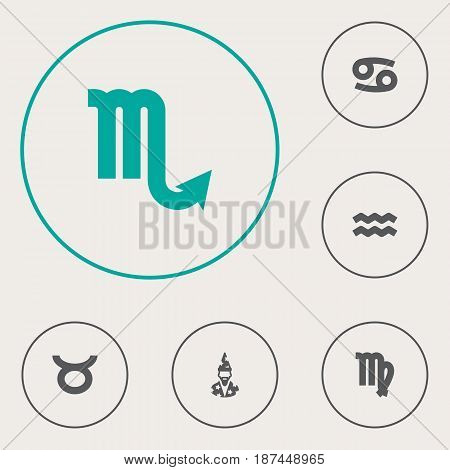 Set Of 6 Horoscope Icons Set.Collection Of Bull, Crab, Water Bearer And Other Elements.
