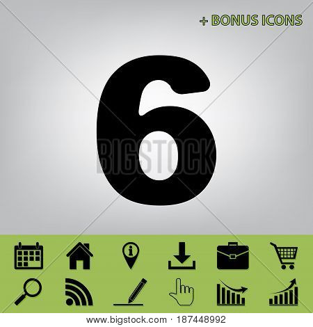 Number 6 sign design template element. Vector. Black icon at gray background with bonus icons at celery ones