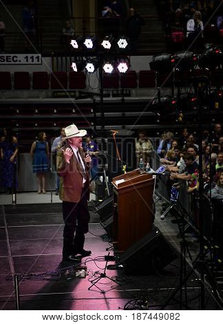 MISSOULA, MONTANA, USA - May 20, 2017: US House of Representatives candidate Rob Quist  speaks to supporters at the 2017 Montana special election rally at University of Montana