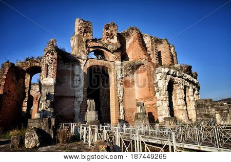 The Amphitheater of Santa Maria Capua Vetere, the second biggest roman amphitheater, tourist destination for cultural trips to Italy