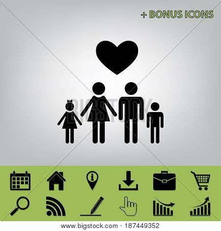 Family symbol with heart. Husband and wife are kept children's hands. Love. Vector. Black icon at gray background with bonus icons at celery ones