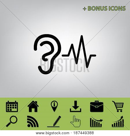 Ear hearing sound sign. Vector. Black icon at gray background with bonus icons at celery ones