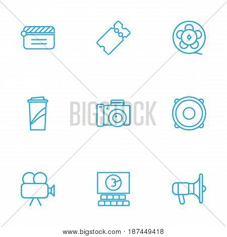 Set Of 9 Amusement Outline Icons Set.Collection Of Bullhorn, Soft Drink, Film Role And Other Elements.