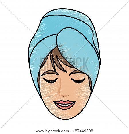 color pencil cartoon face woman with towel in head vector illustration