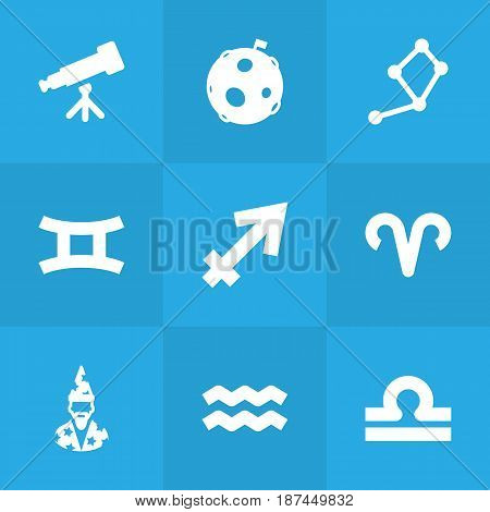 Set Of 9 Horoscope Icons Set.Collection Of Scales, Archer, Horoscope And Other Elements.