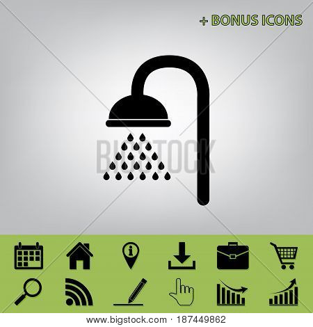 Shower sign. Vector. Black icon at gray background with bonus icons at celery ones