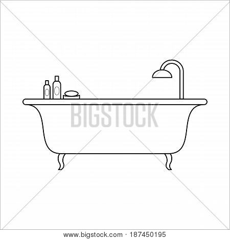 Freestanding bath with beauty products, home furniture lineart design, hand drawn sketch of single object, interior concept, vector illustration on white background