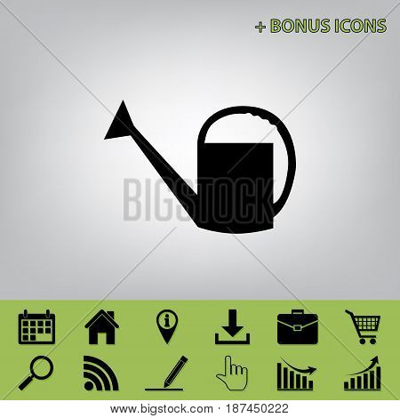 Watering sign. Vector. Black icon at gray background with bonus icons at celery ones