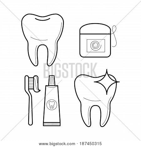 Toothbrush, toothpaste and floss. Icons of equipment for tooth hygiene in thin line style. Oral clean and care symbols. Vector outline simple illustrations isolated on white background.