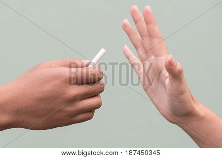 Stop smoking cigarette,  just say no with hand