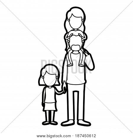 caricature thick contour faceless dad with daugther on his back and girl taken hands vector illustration