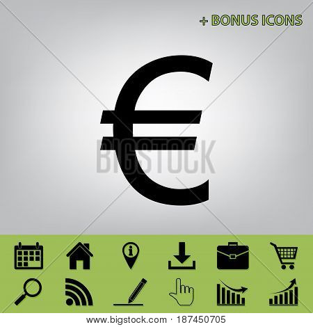 Euro sign. Vector. Black icon at gray background with bonus icons at celery ones